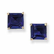 9ct Gold princess cut Blue Sapphire Cubic zirconia stud earrings